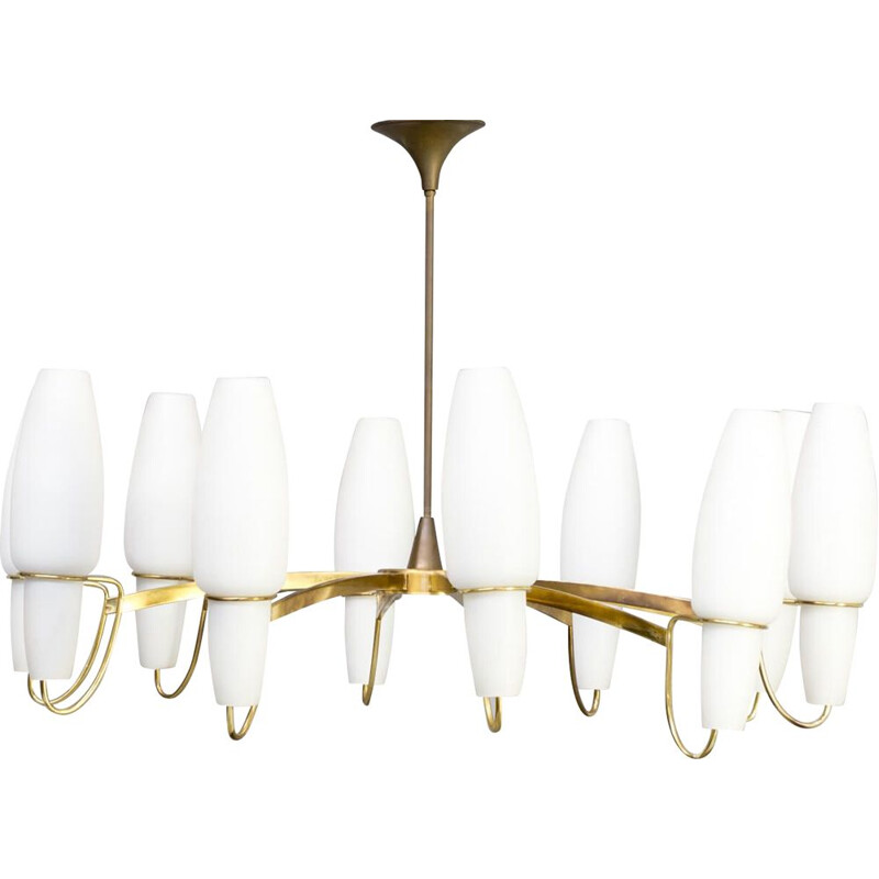 Vintage opaline glass chandelier by Stilnovo, 1960s