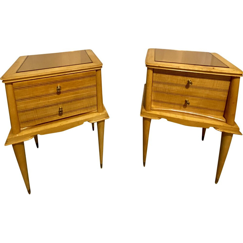 Pair of wood Bedside Tables Vintage 1960s