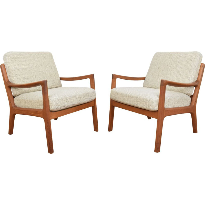 Set of 2 danish teak vintage armchairs by Ole Wanscher for Cado, 1960s