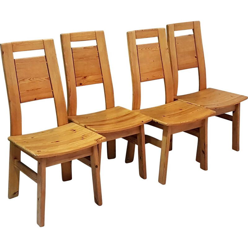 Set of 4 pine vintage dining chairs by Tapiovaara for Laukaan Finland