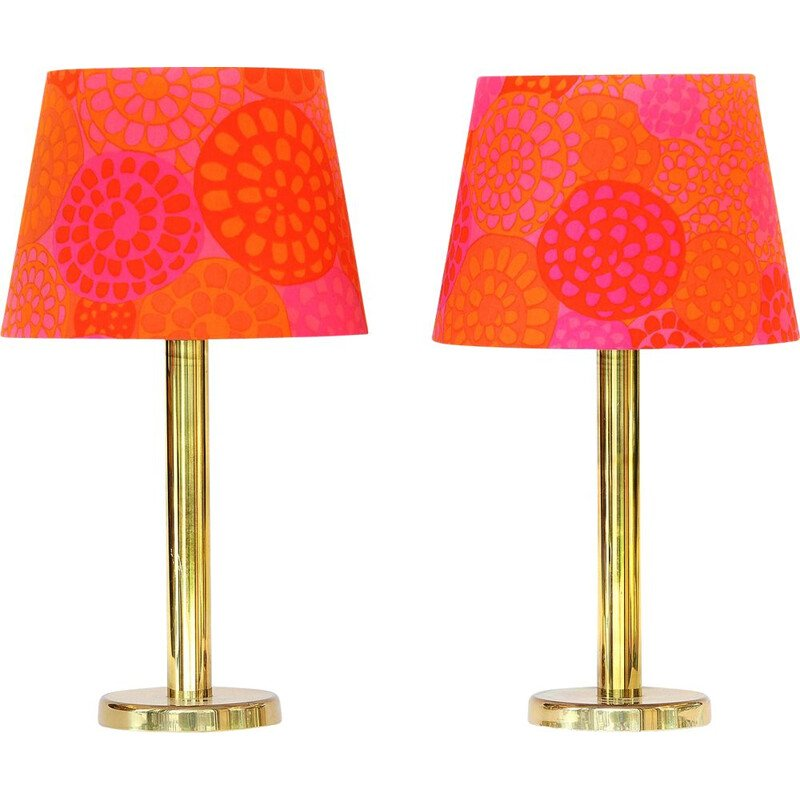 Pair of vintage brass table lamps with custom shades, 1960