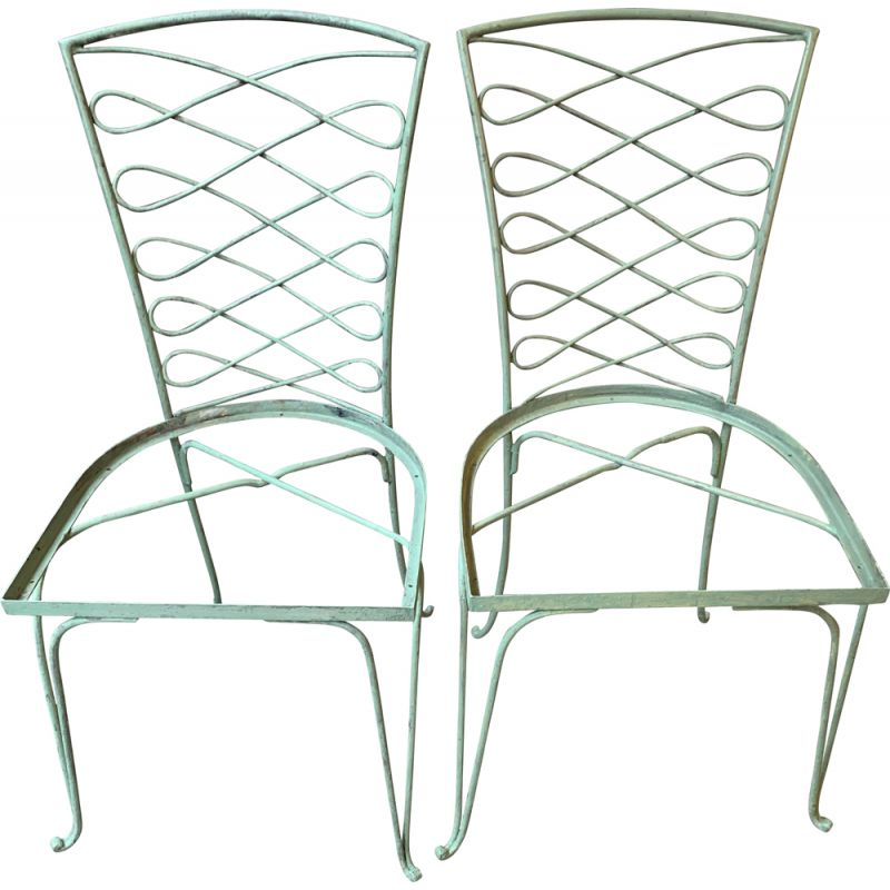 Pair of vintage green lacquered metal chairs by René Prou