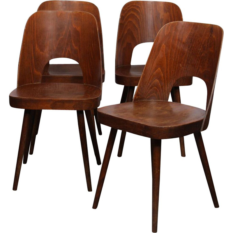 Suite of 4 vintage chairs by Oswald Haerdtl for Ton, 1960