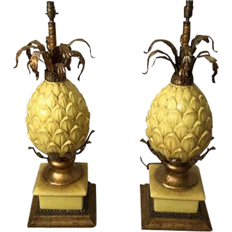 Pair of vintage pineapple lamps in yellow cracked ceramic 1960s
