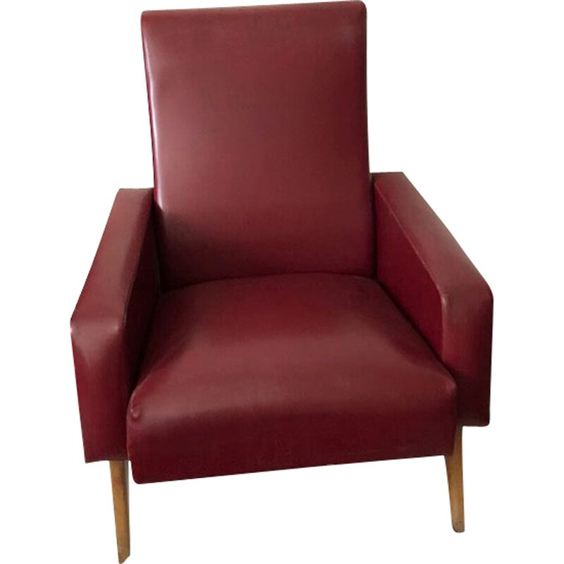 Vintage armchair in burgundy leatherette with compass feet, 1950