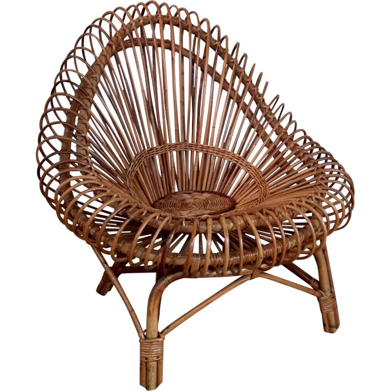 Vintage wicker armchair Rougier edition by Janine Abraham, 1950