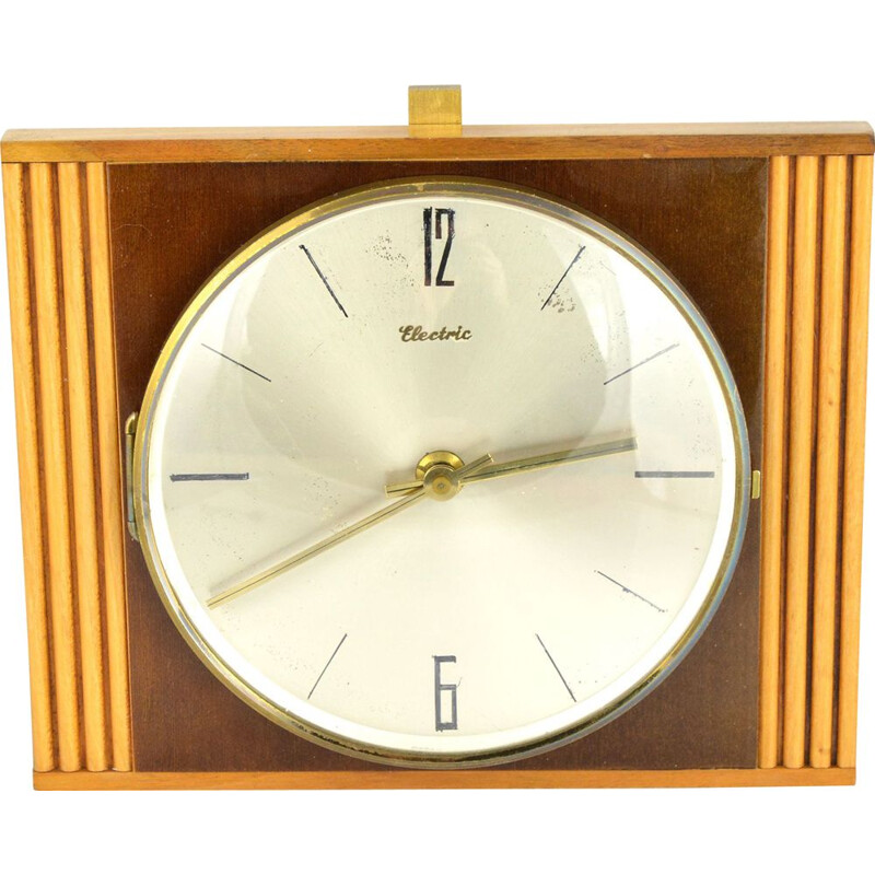 Vintage wooden Diehl clock in the style of Brusel, Germany, 1960s