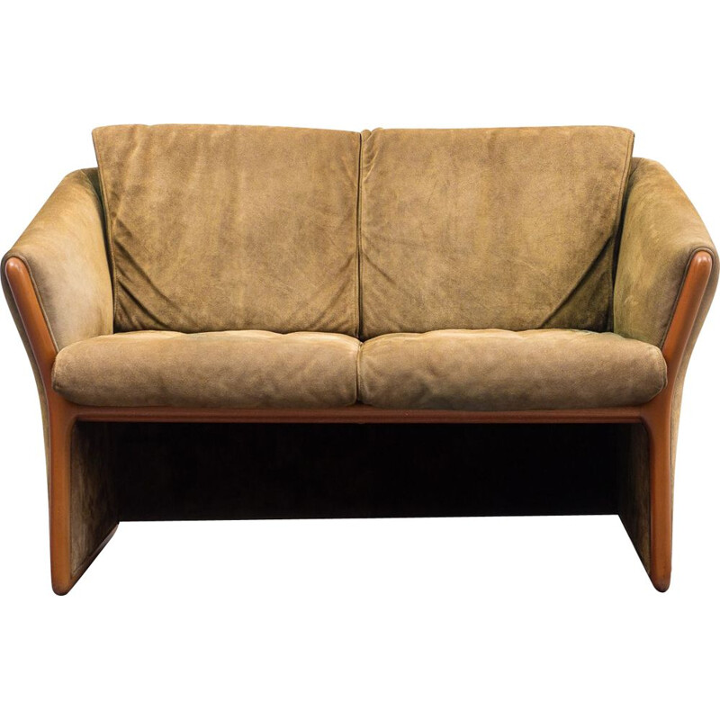 Vintage small green suede sofa by Hain & Thome