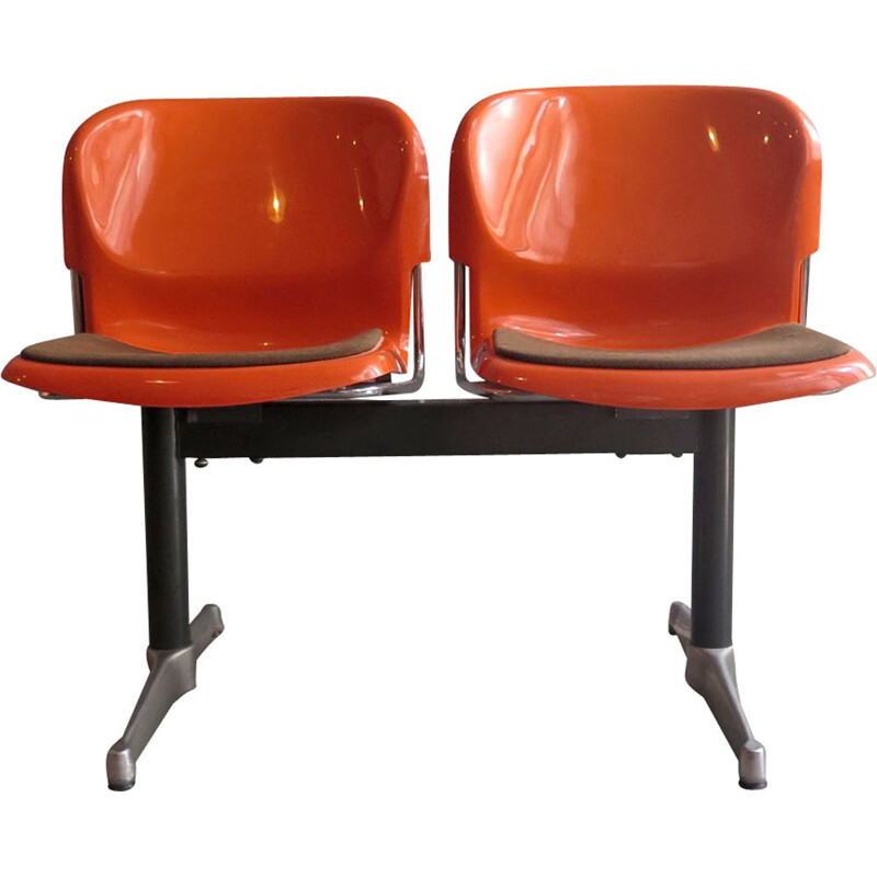 Pair of 2 vintage chairs in orange plastic and steel 1970