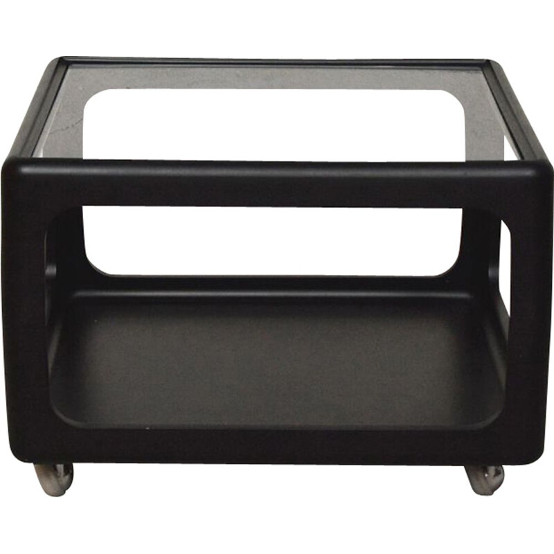 Vintage black lacquered polyurethane coffee table by Peter Ghyczy, Germany, 1975
