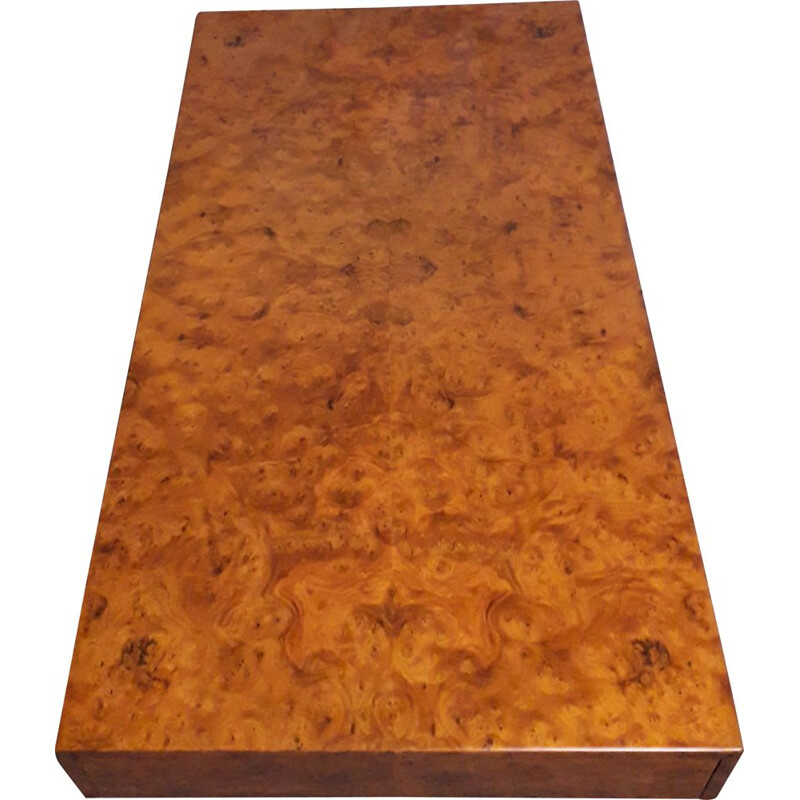 Rectangular vintage coffee table in burr elm wood