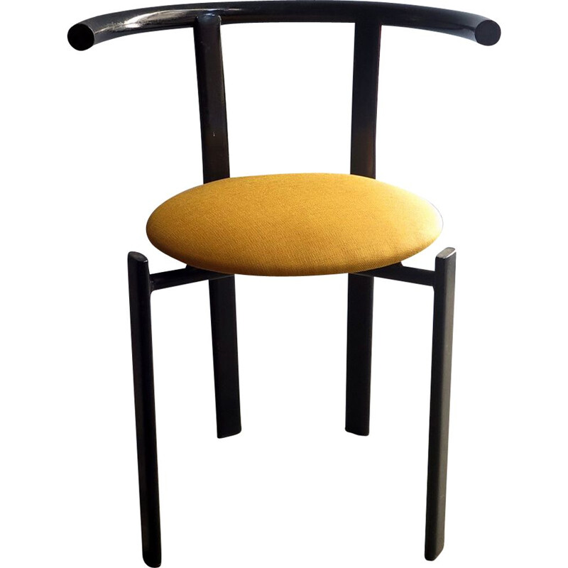 Vintage black iron and yellow fabric chair, 1980s