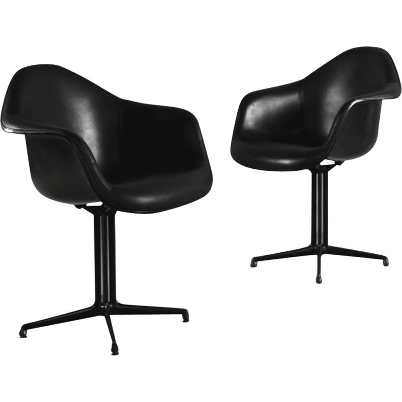 "Vintage pair of black 1730 ""La Fonda chairs"" by Charles & Ray Eames for Herman Miller, 1960s"