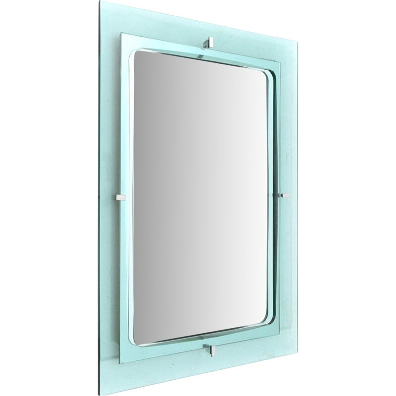 Vintage Blu Nile glass frame rectangular mirror, 1960s