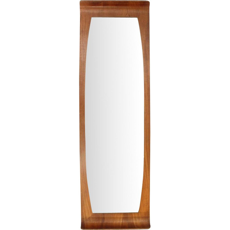Vintage curved plywood frame teak mirror, 1960s