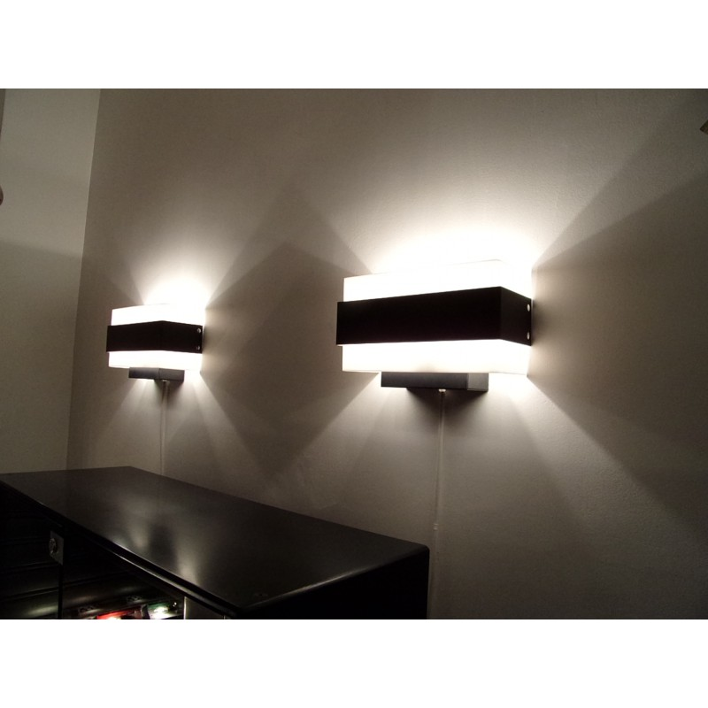 Pair of philips wall lamps in black metal and plastic 1960s previous aloadofball Choice Image