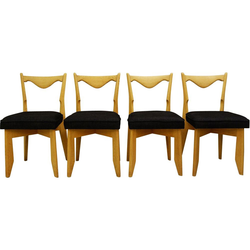 Suite of 4 vintage chairs by Guillerme and Chambron for Maison De France, 1960s