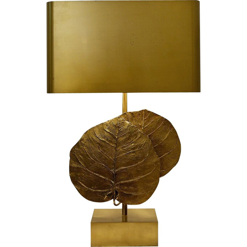 "Vintage lamp ""Guadeloupe"" In Gilded Bronze by Maison Charles, France, 1970s"