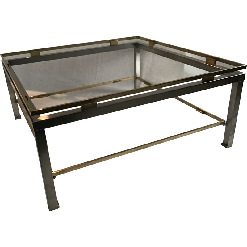 Vintage brass and steel coffee table by JANSEN